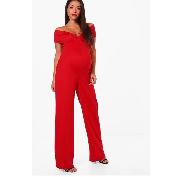45ab3b9048a Boohoo Pants - Boohoo maternity red off shoulder jumpsuit
